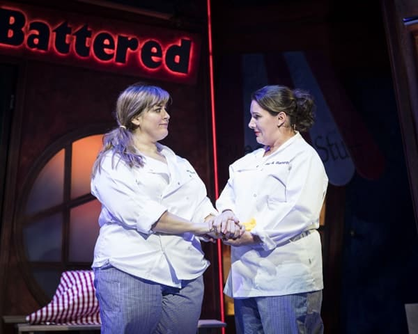 Jodie Prenger and Sam Bailey for Kay Mellors Fat Friends the Musical. Photo by Helen Maybanks.