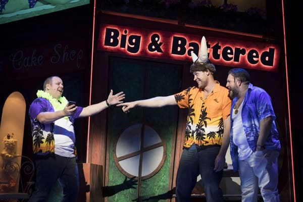 Neil-Hurst, Andrew Freddie Flintoff and Craig Armstrong for Kay Mellors Fat Friends the Musical. Photo by Helen Maybanks.