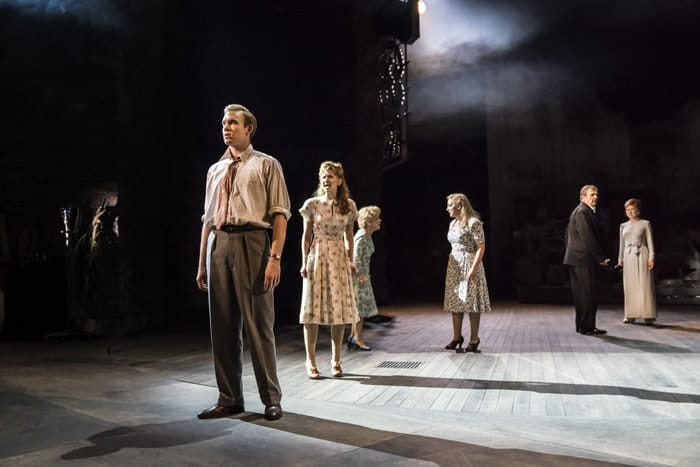 Adam Rhys-Charles as Young Ben, Zizi Strallen as Young Phyllis, Imelda Staunton as Sally , Alex Young as Young Sally, Philip Quast as Ben and Janie Dee as Phyllis (c) Johan Persson