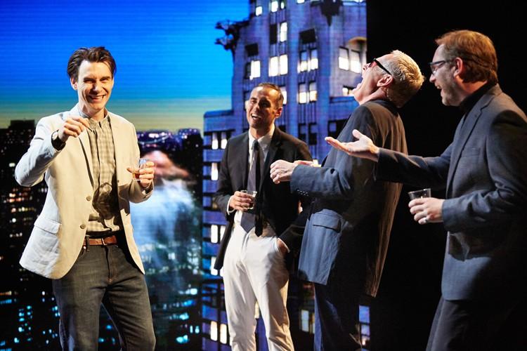 Good Canary-Harry Lloyd (Jack) Steven John Shepherd (Charlie) Michael Simkins (Stuart) and Simon WIlson (Mulholland) Photo Credit Mark Douet