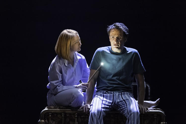 Left to Right - Poppy Miller (Ginny Potter) and Jamie Parker (Harry Potter) in the West End production of the new play Harry Potter and the Cursed Child, photo by Manuel Harlan