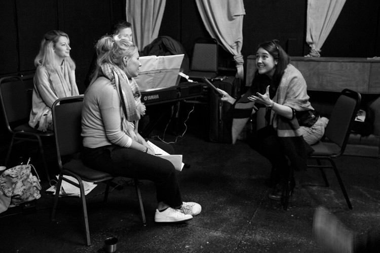 Her Aching Heart rehearsals: Suzy Gill. Ian Brandon. Naomi Todd. Colette Eaton - Credit lhphotoshots