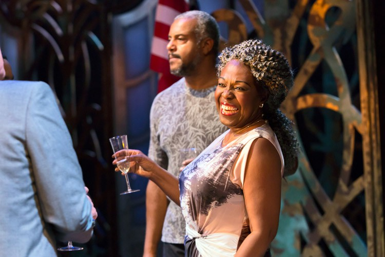 The Hotel Cerise Theatre Royal Stratford East Andrew Dennis (Cornell Baxter) and Ellen Thomas (Anita Lily Mountjoy Sinclaire Thimbutu) Credit Stephen Cummiskey