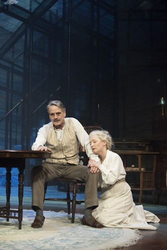 Long Days Journey Into Night Wyndhams Theatre: Jeremy Irons - James Tyrone and Lesley Manville - Mary-Tyrone - Photographer Hugo Glendinning