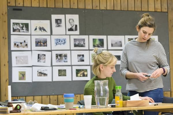 Rosy Banham (Staff Director) and Emily Porter (Deputy Stage Manager) rehearsing JOHN (c) Stephen Cummiskey