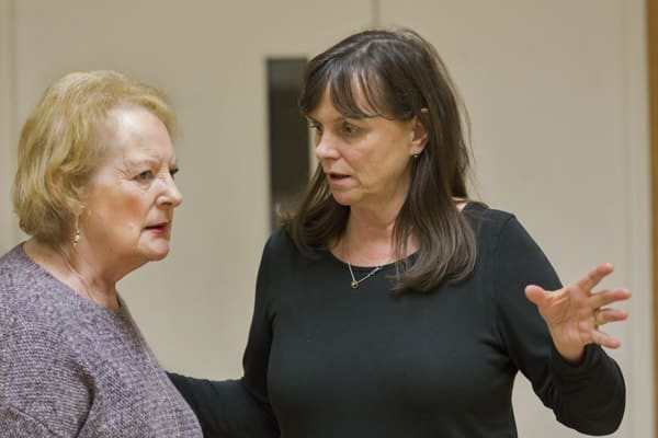 June Watson (Genevieve) and Alison Rankin (Stage Manager) rehearsing JOHN (c) Stephen Cummiskey
