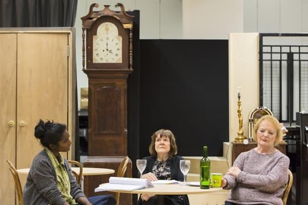 Anneika Rose (Jenny), Marylouise Burke (Mertis) and June Watson (Genevieve) rehearsing JOHN at the National Theatre (c) Stephen Cummiskey