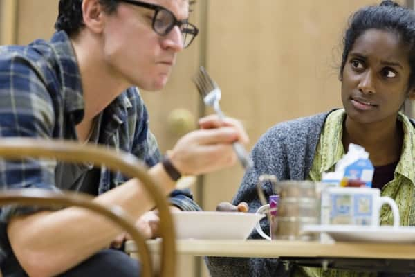 Tom Mothersdale (Elias) and Anneika Rose (Jenny) rehearsing JOHN at the National Theatre (c) Stephen Cummiskey