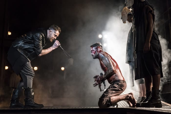 David Thaxton and Declan Bennett as Pilate and Jesus. Photo Johan Persson