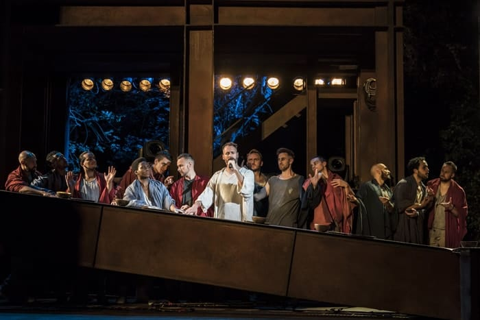 Declan Bennett as Jesus with the Apostles. Photo Johan Persson