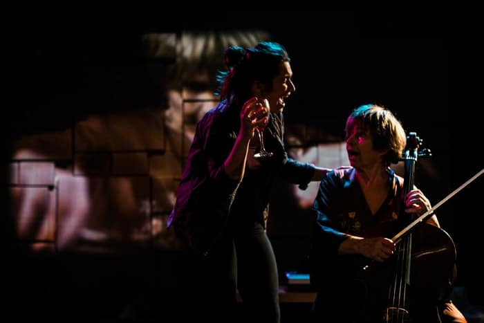 Zoe Mills and Brigit Forsyth (l-r) in Killing Time at Park Theatre. Photo by Darren Bell