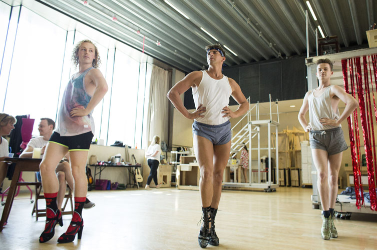 Ben Sell (Angel), Robin Mills (Swing) and George Grayson (Angel) Kinky Boots Rehearsal. Photo by Helen Maybanks