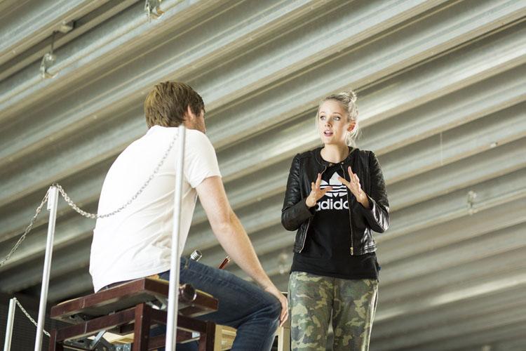 Elena Skye (Lauren) and David Hunter (Charlie Price) Kinky Boots Rehearsal. Photo by Helen Maybanks