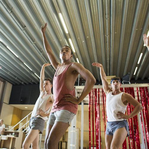 George Grayson (Angel), Jemal Felix (Angel) and Robin Mills (Swing) Kinky Boots Rehearsal. Photo by Helen Maybanks