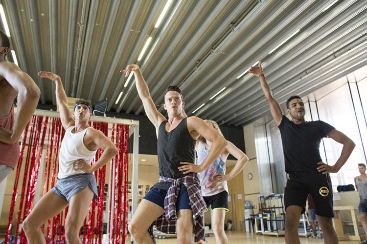 Robin Mills (Swing), Jon Reynolds (Angel) and Craig Thomas (Angel) Kinky Boots Rehearsal. Photo by Helen Maybanks