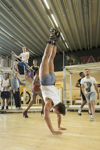 Robin Mills (Swing) and company Kinky Boots Rehearsal. Photo by Helen Maybanks