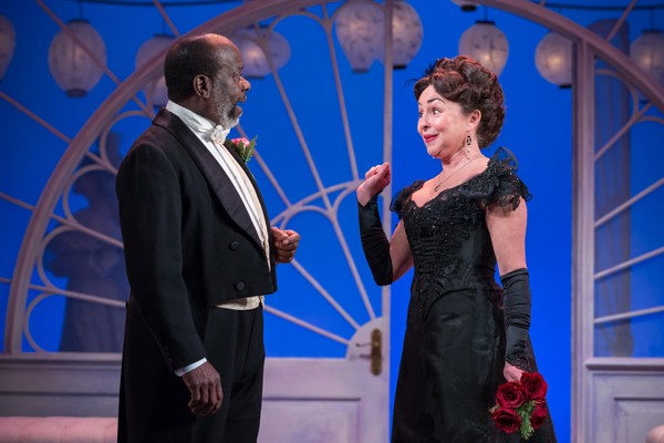 Joseph Marcell as Lord Lorton and Samantha Spiro as Mrs Erlynne - Credit Marc Brenner