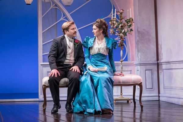 Kevin Bishop as Lord Darlington and Grace Molony as Lady Windermere - credit Marc Brenner