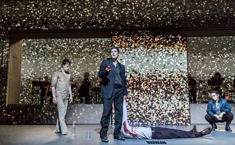 LAZARUS - Michael C Hall (Newton), Michael Esper (Valentine), Maimuna Memon (Teenage Girl) Credit Johan Persson