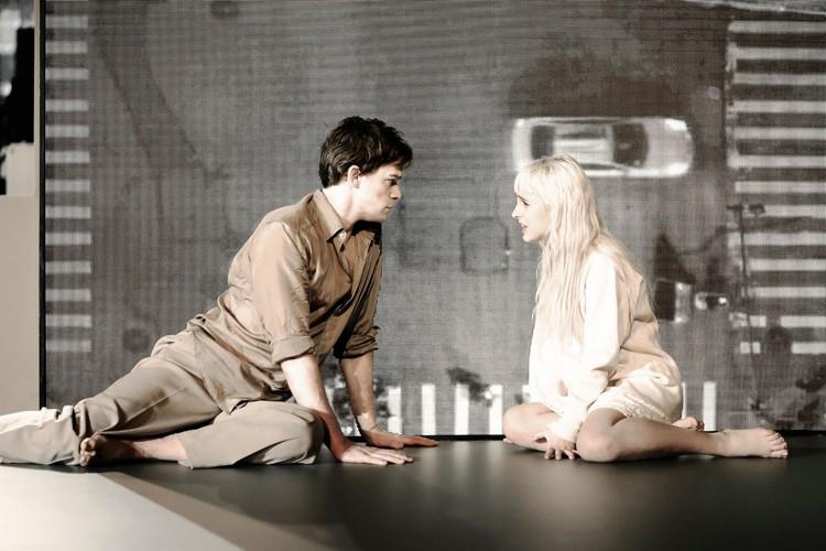 LAZARUS - Michael C Hall (Newton), Sophia Anne Caruso (Girl) Credit Jan Versweyveld