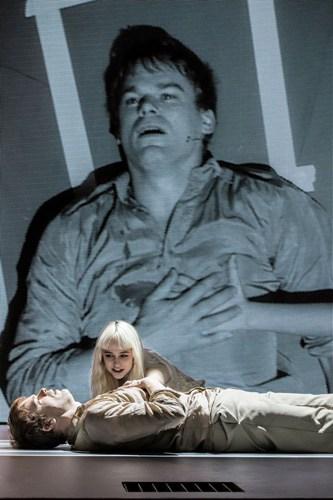 LAZARUS - Michael C Hall (Newton), Sophia Anne Caruso (Girl) Credit Johan Persson