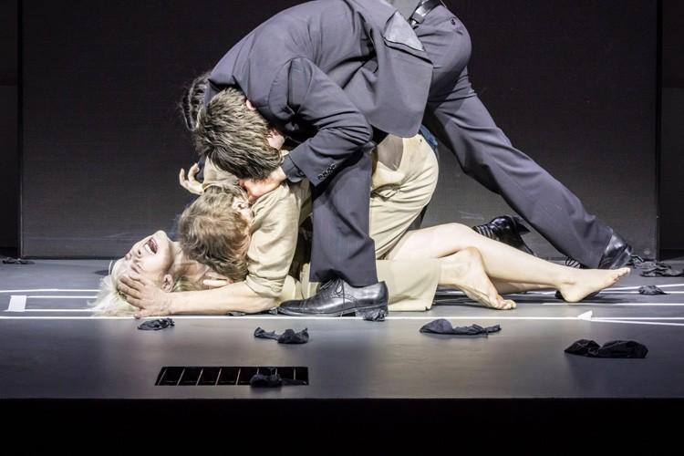 LAZARUS - Sophia Anne Caruso (Girl), Michael C Hall (Newton), Michael Esper (Valentine) Credit Johan Persson