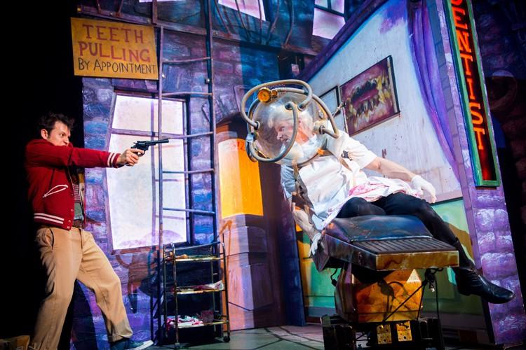 Sam Lupton as Seymour and Rhydian Roberts as Orin Scrivello in Little Shop of Horrors. Photo Credit Matt Martin