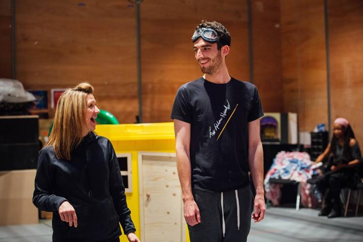 Choreographer Lainie Baird and Arthur McBain in Aladdin Rehearsals at Lyric Hammersmith. Photo by Helen Murrary