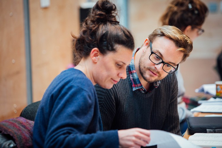 Director Ellen McDougall and Writer Joel Horwood in Aladdin Rehearsals at Lyric Hammersmith. Photo by Helen Murrary