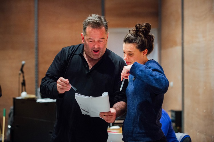 James Doherty and Director Ellen McDougall in Aladdin Rehearsals at Lyric Hammersmith. Photo by Helen Murrary