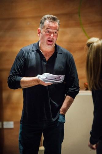 James Doherty as Widow Twankey in Aladdin Rehearsals at Lyric Hammersmith. Photo by Helen Murrary
