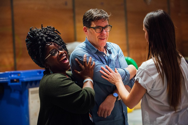 Malinda Parris and Dale Rapley in Aladdin Rehearsals at Lyric Hammersmith. Photo by Helen Murrary