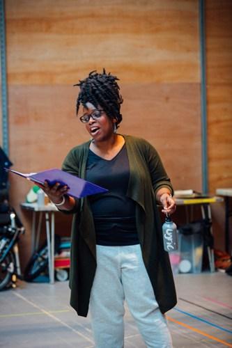 Malinda Parris as Genie in Aladdin Rehearsals at Lyric Hammersmith. Photo by Helen Murrary
