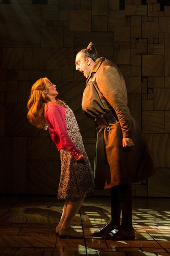 Royal Shakespeare Company's production of Matilda The Musical Miria Parvin (Miss Honey) and Craig Els (Miss Trunchbull) Credit Manuel Harlan