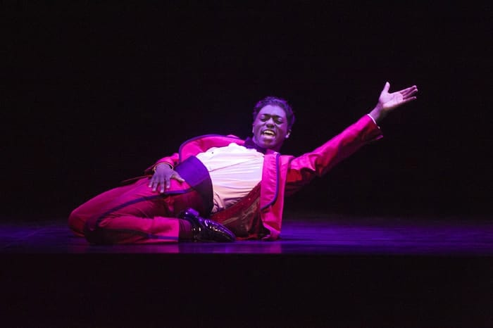 Samuel Edwards (Jackie Wilson) in Motown the Musical at the Shaftesbury Theatre. Photo credit Alastair Muir700