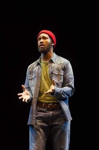 Sifiso (Marvin Gaye) in Motown the Musical at the Shaftesbury Theatre. Photo credit Alastair Muir
