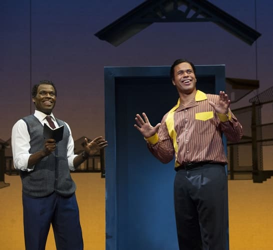 l-r Cedric Neal (Berry Gordy) & Obioma Ugoala (Smokey Robinson) in Motown the Musical at the Shaftesbury Theatre. Photo credit Alastair Muir
