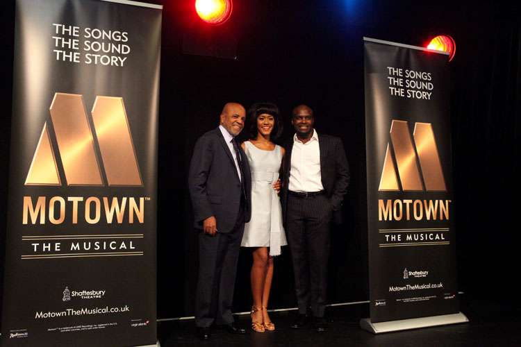 Berry Gordy, Lucy St. Louis (Diana Ross) and Cedric Neal (Berry Gordy) at the Motown The Musical launch. Photo credit Craig Sugden.