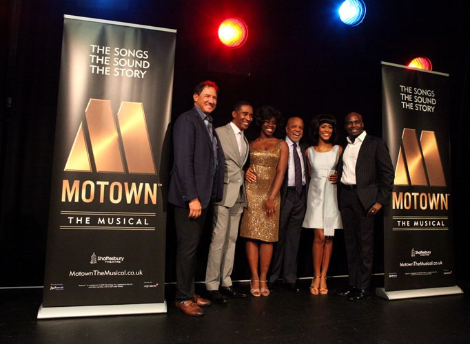 Kevin McCollum (Producer), Charles Randolph-Wright (Director), Aisha Jawondo (Martha Reeves), Berry Gordy, Lucy St. Louis (Diana Ross) and Cedric Neal (Berry Gordy) at launch. Photo credit Craig Sugden.
