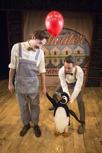 Russel Morton (Mr Popper) & Toby Manley (Male Puppeteer) Credit Helen Murray