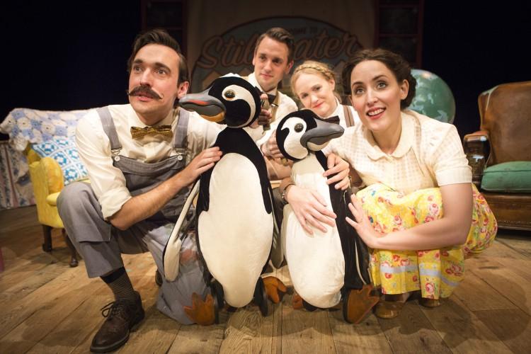 Russell Morton (Mr Popper), Toby Manley (Male Puppeteer), Lucy Grattan (Female Puppeteer) & Roxanne Palmer (Mrs Popper) Credit Helen Murray (2)