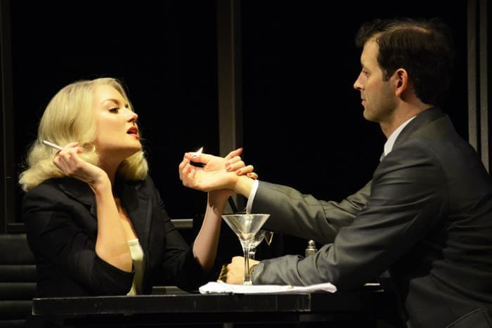 Olivia Fines and Jonathan Watton in North by North West at Theatre Royal Bath. Credit Nobby Clark