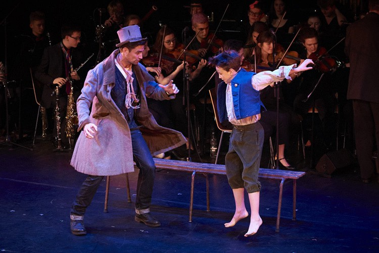 NYMT GALA OLIVER! Simon Thomas as The Artful Dodger andf Ben Lewis as Oliver Photo Konrad Bartelski