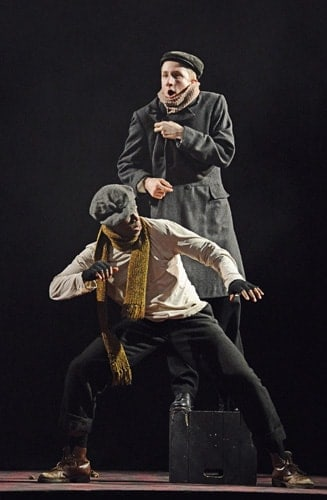 Mohammed Mansaray, Jamie Rose in the NYT's Jekyll and Hyde at the Ambassadors Theatre CREDIT Nobby Clark