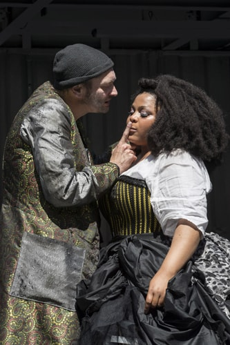 Michael Hodgson (Fagin) and Gbemisola Ikumelo (Nancy) in Oliver Twist Created For Everyone Aged Six and Over. Photo Johan Persson.
