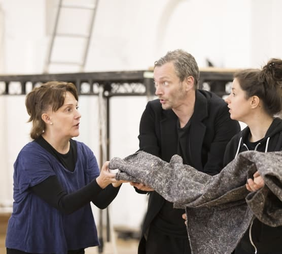 Michael Hodgson and Robyn Cara with Choreographer Lucy Burge and Director Caroline Byrne. Photo Johan Persson.