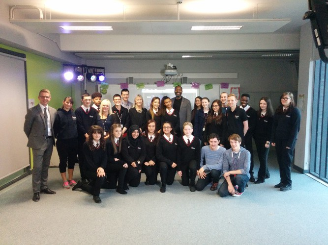 Sir Lenny Henry with students at Shenley Academy