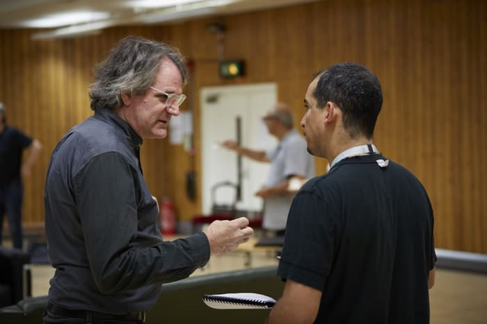 l-r Bartlett Sher and Nabil Elouahabi in rehearsal for 'Oslo' - photo credit Brinkhoff Mögenberg.