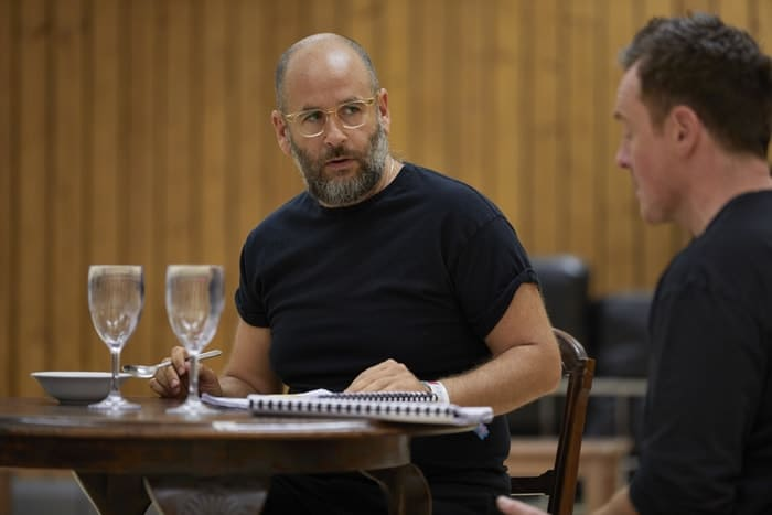 l-r Jacob Krichefski and Toby Stephens in rehearsal for 'Oslo' - photo credit Brinkhoff Mögenberg.