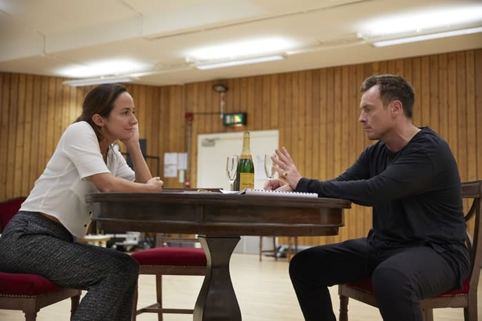 l-r Lydia Leonard and Toby Stephens in rehearsal for 'Oslo' - photo credit Brinkhoff Mögenberg.